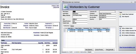 access 2007 time card database template access templates work orders invoice services management