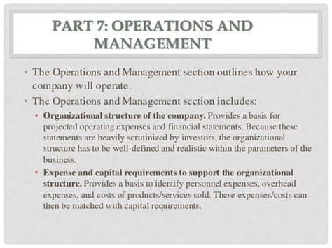 business plan operations section business plan