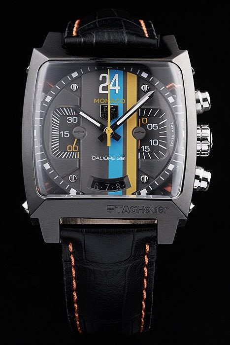 Tagheuer Formula1 Monaco Silver Black Leather aaa replica tag heuer swiss monaco black leather blue yellow striped black 31994