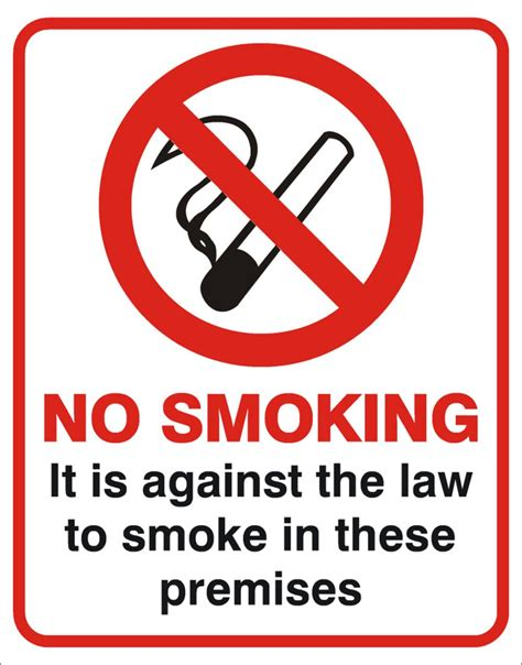 printable no smoking on premises sign no smoking it is against the law to smoke in these