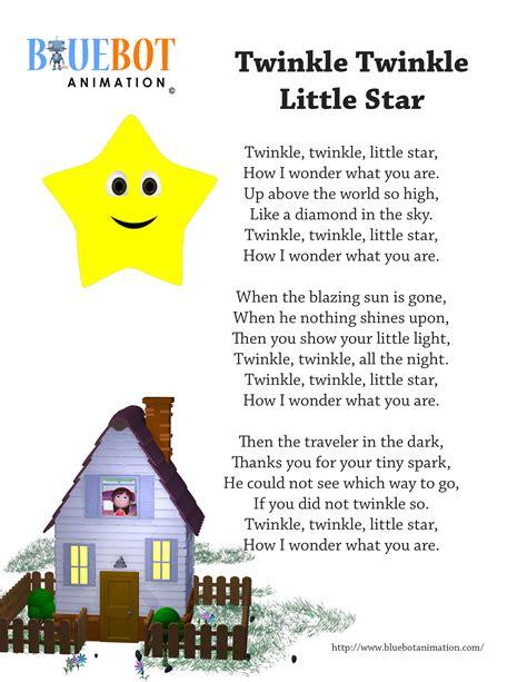 twinkle twinkle nursery rhyme lyrics free