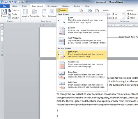 change page layout within word document microsoft word 2010 make only 1 page in landscape layout
