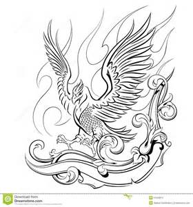 phoenix on a background of flames and oranmenta stock