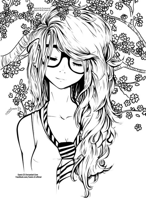 pretty hair coloring pages long hair girl on behance