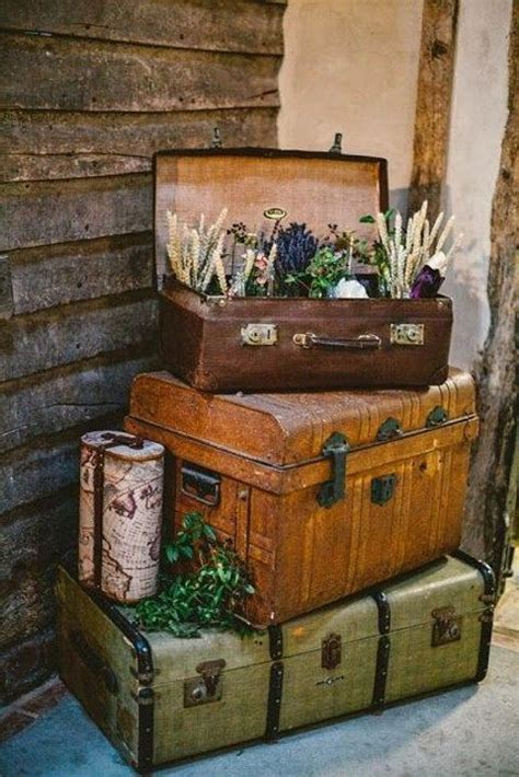 vintage travel decor 40 ways to use vintage suitcases in your wedding decor