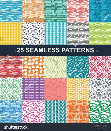 pattern and texture difference set seamless patterns geometric textures different stock