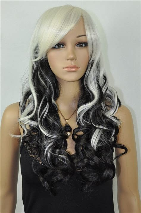 black and white color hairstyles items similar to ying yang beautiful black and blonde
