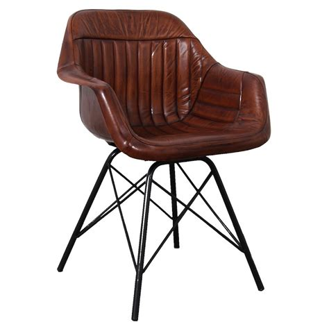 Leather And Metal Dining Chairs Industrial Leather Dining Chair Industrial Brown Leather Chair