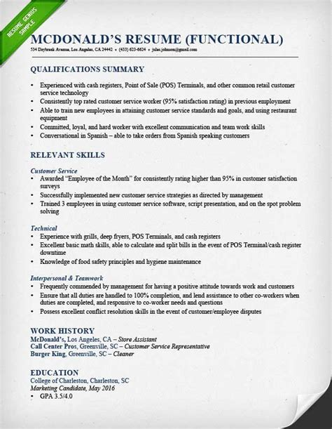 Functional Resume by Functional Resume Sles Writing Guide Rg