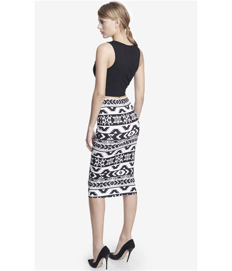 printed midi pencil skirt express knit aztec print midi pencil skirt in white black