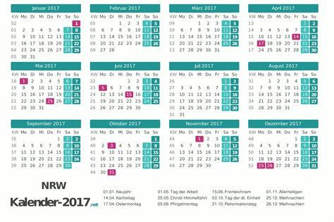 Kalender Mit Kw Und Feiertagen Kalender 2017 Nordrhein Westfalen