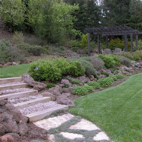 Sloped Back Yard Ideas On Pinterest Sloped Backyard Sloped Backyard Landscaping Ideas