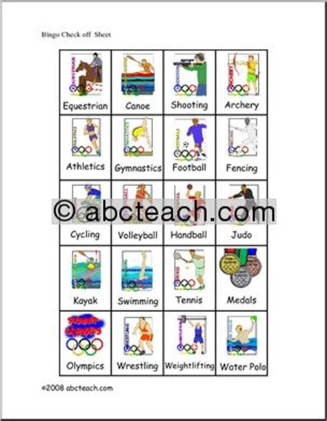 bingo cards summer olympics elem check sheet color abcteach