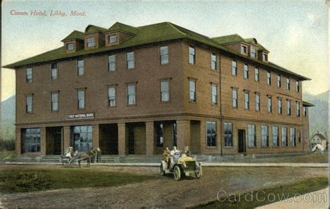 Coram Post Office by Coram Hotel Libby Mt Postcard