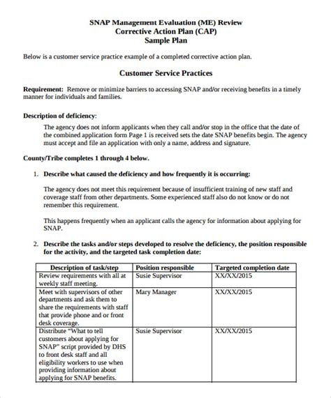 corrective plan template sle corrective plan template 12 documents in