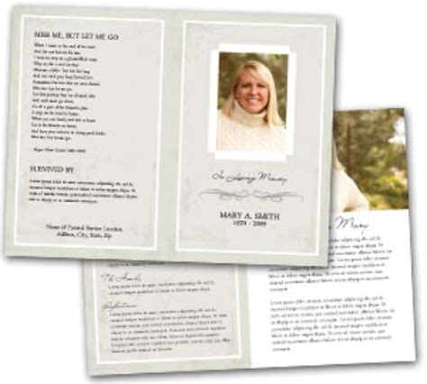free memorial templates best photos of template of funeral program free sle