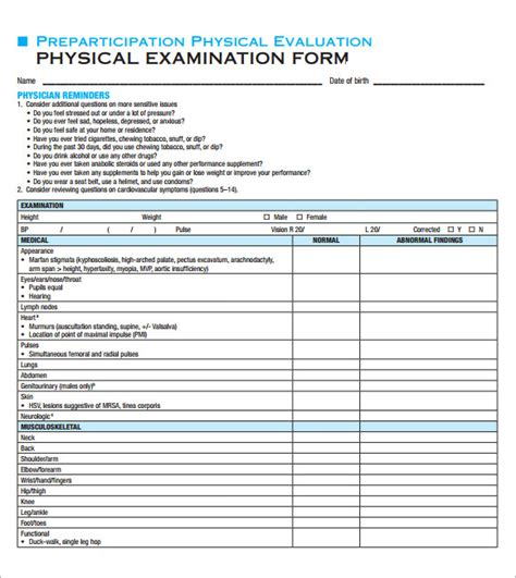 physical examination template physical template 8 in documents in pdf