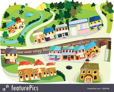Free Online Design Software cityscapes cartoon village stock illustration i3058184