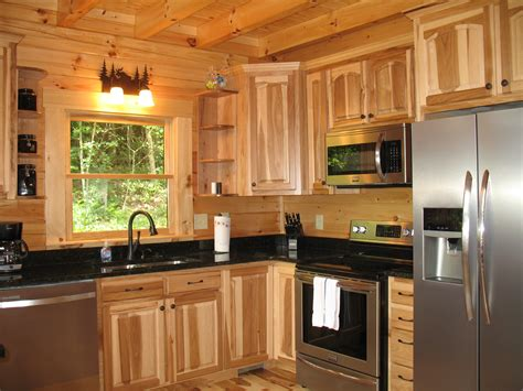 Kitchen appliances with hickory cabinets