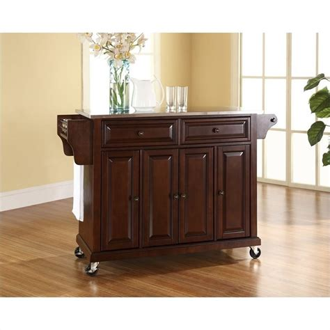 crosley furniture kitchen cart crosley furniture stainless steel top mahogany kitchen
