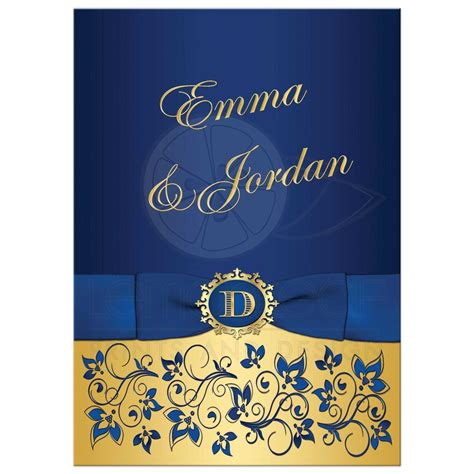 blue gold wedding card template wedding invitation royal blue gold floral monogram