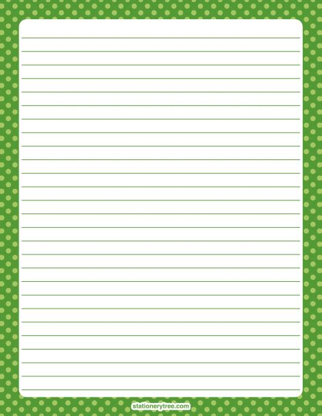 printable stationery without lines printable green polka dot stationery and writing paper