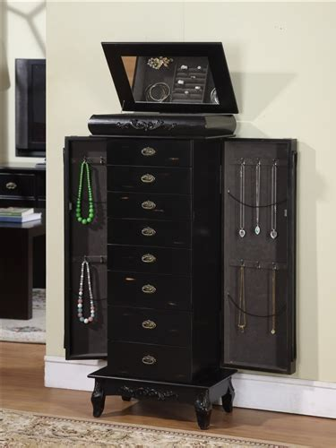large black jewelry armoire large black antique style jewelry armoire with eight drawers