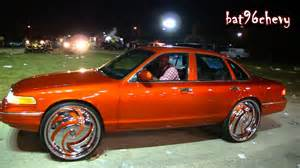 candy orange ford crown vic on 28 quot dub hurricayne floaters