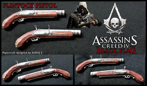 Papercraft For Sale - flintock pistol assassin s creed 4 papercraft pdo by