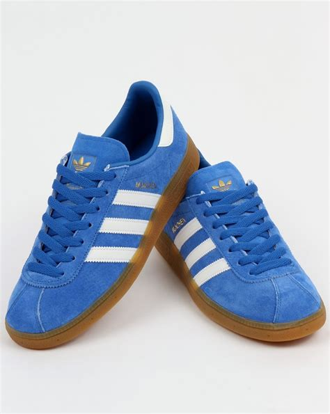 Adidas Prewalker White Blue adidas munchen trainers blue white shoes originals mens