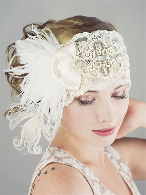 how to make a gatsby headpiece gatsby ivory lace flapper feather headband bridal