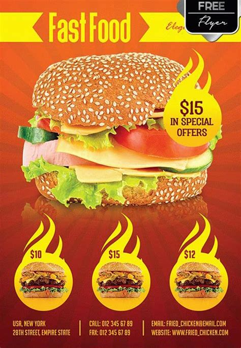Download The Fast Food Menu Free Flyer Template For Photoshop Food Flyers Templates