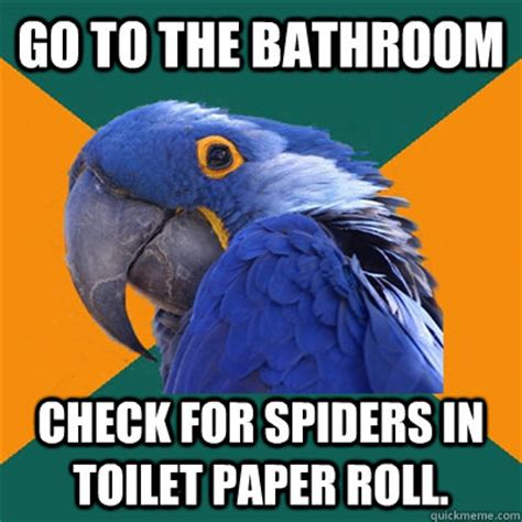 Shower Spider Meme - go to the bathroom check for spiders in toilet paper roll