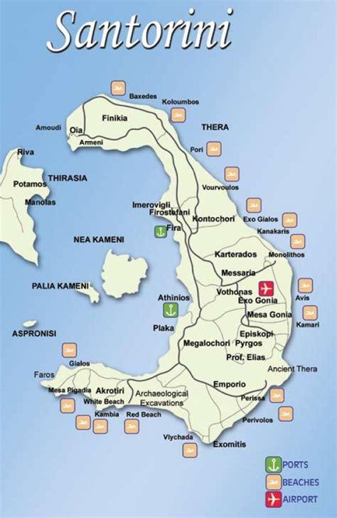 printable road map of greece santorini tourist map
