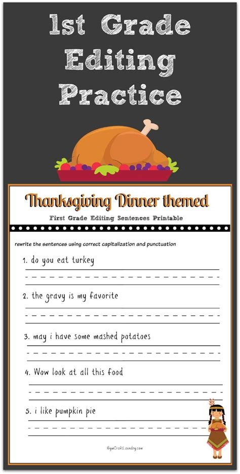 printable reading games for 1st grade thanksgiving 1st grade editing printable magnet school