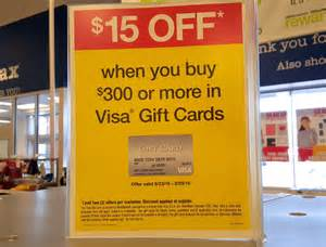 15 instant rebate on 300 in visa gift cards at officemax frequent miler