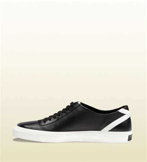 black and white gucci sneakers gucci black and white leather laceup sneaker in black for