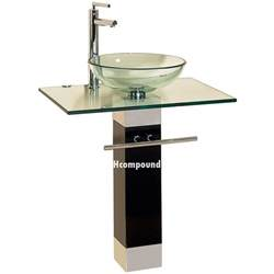 Bathroom Vanities Bowl Sinks Modern Bathroom Vanities Pedestal Glass Bowl Vessel Sink Combo W Faucet Set Ebay