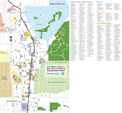 atlanta city usa map atlanta midtown walking map