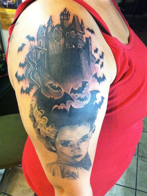 bride of frankenstein tattoo of frankenstein castle tattoos and