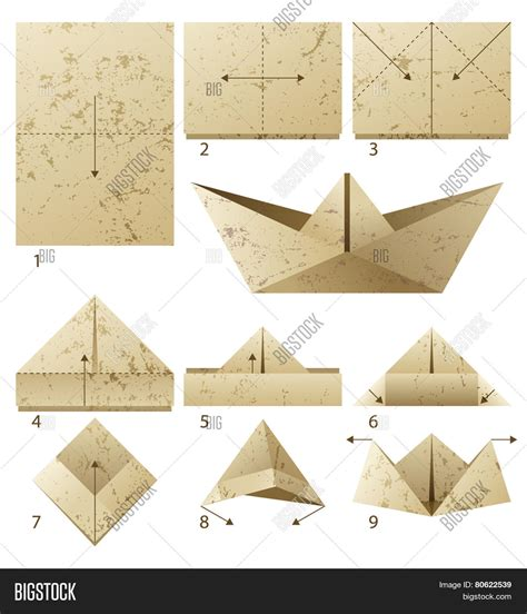 Make Paper Sailboat - 9 steps how make paper vector photo bigstock