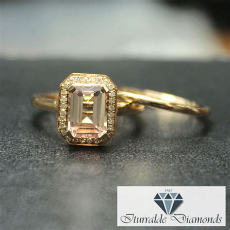 emerald cut morganite engagement ring milgrain