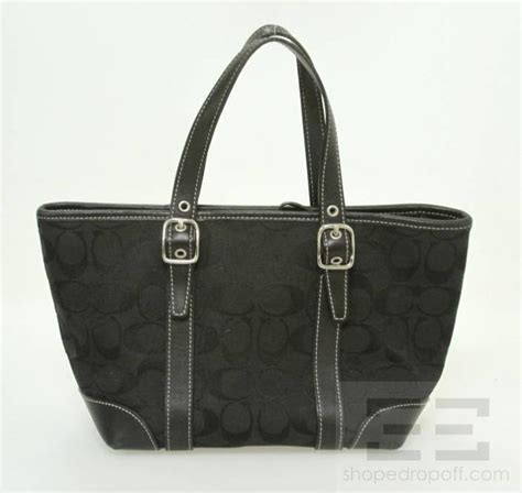 Coach Canvas Signature Small Bag In Black coach black monogram canvas signature market small tote