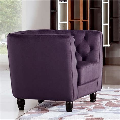 Purple Tufted Chair by Bellini Tufted Accent Chair Purple Fabric Sofa
