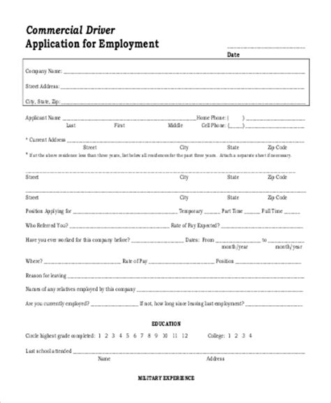 9 Printable Application For Employment Sles Sle Templates Cdl Driver Application For Employment Template