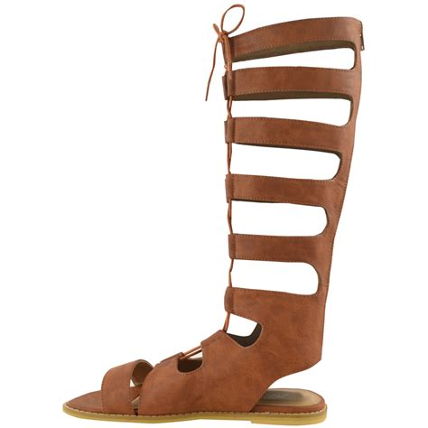 knee high lace up sandals womens knee high cut out lace up flat sandals