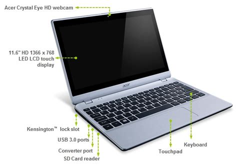 Laptop Acer Aspire Slim V5 122p acer aspire v5 122p 11 6 inch touchscreen laptop amd a6 1ghz 4gb ram 500gb hdd lan wlan bt