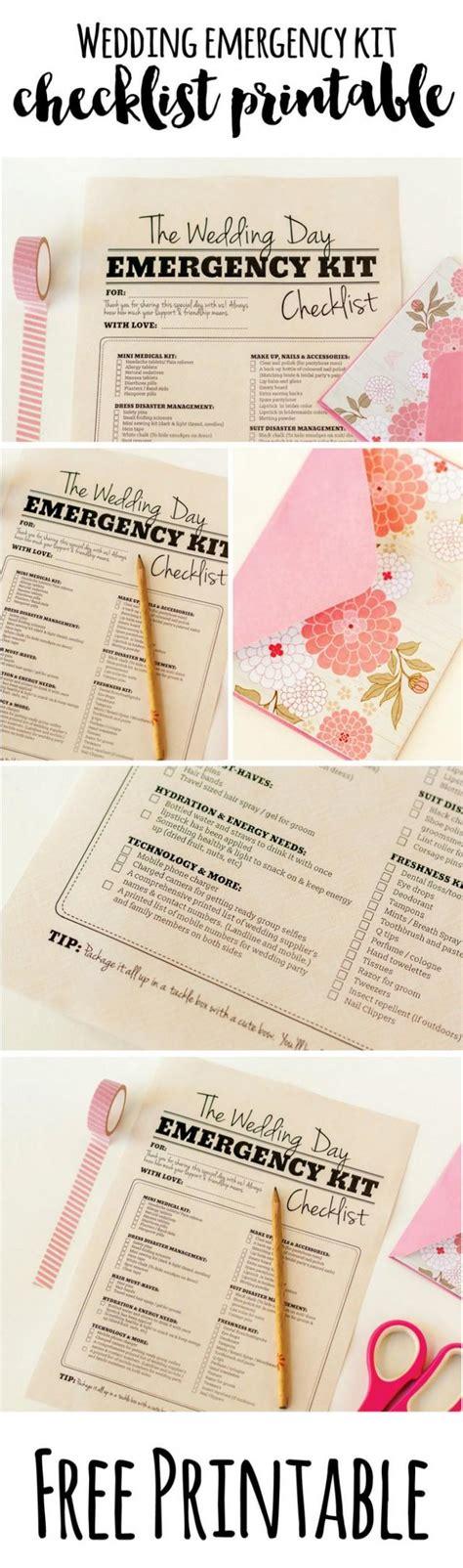 Wedding Emergency Checklist Kit by Wedding Day Emergency Kit Checklist Free Printable