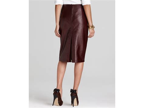 elie tahari julie leather pencil skirt in lyst