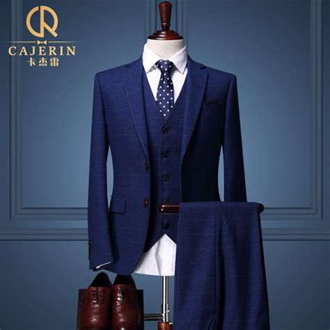 Dress Ucansee Dongker 1 plaid royal blue tuxedo groom wedding suits dress mens 3 suits terno azul escuro